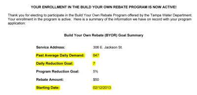 Your Enrollment in the Build Your Own Rebate Program is now Active