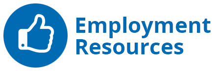 thumbs up icon with Employment Resources text