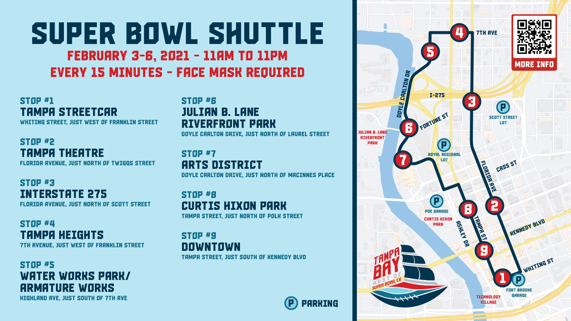 Super Bowl Shuttle Map Graphic