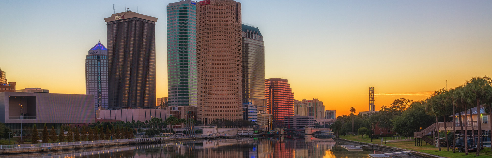 Mirror Image of Tampa Skyline at Sunrise