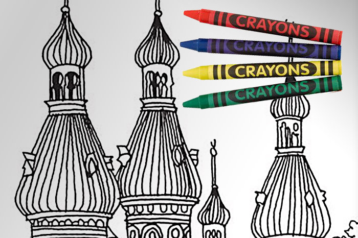 University of Tampa minarets in coloring book with crayons on top