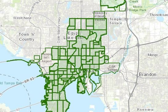 City of Tampa Map broken down by neighborhood