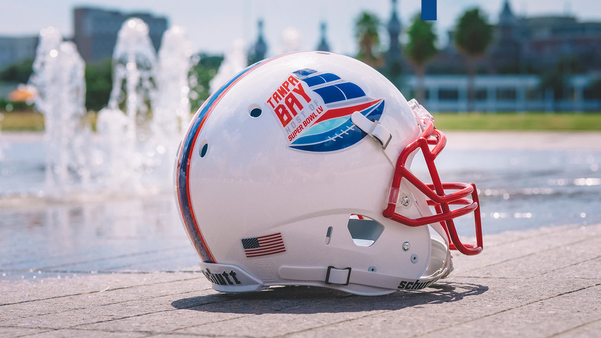 Super bowl helmet in front of splash pad