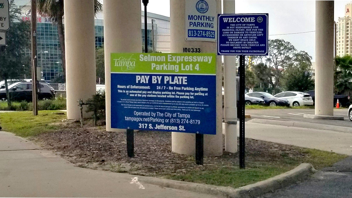 Selmon Expressway 4 Parking Lot Entrance Sign