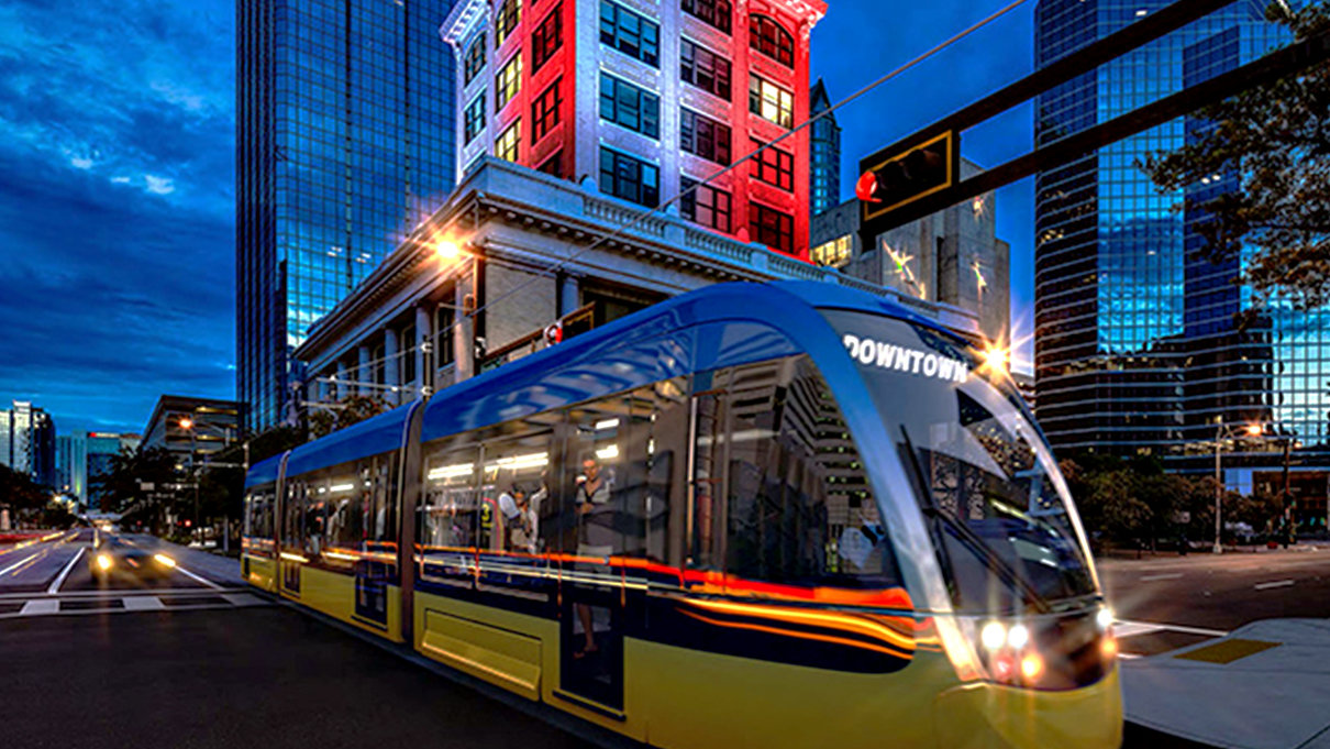 Tampa Streetcar by City Hall
